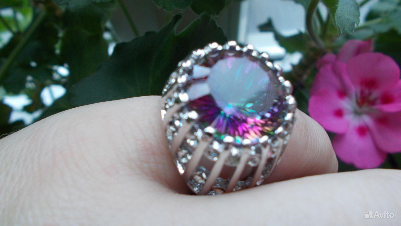 Кольцо серебро 925 мистик топаз размер