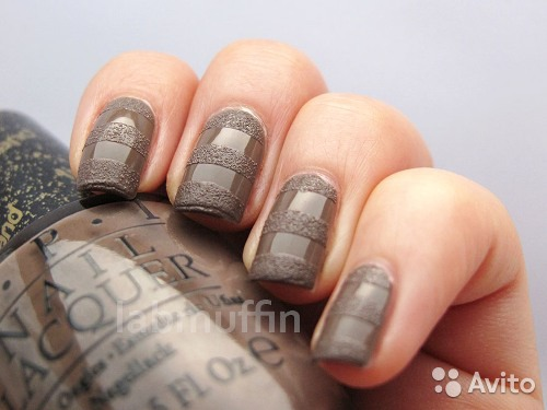 дизайн ногтей песком: