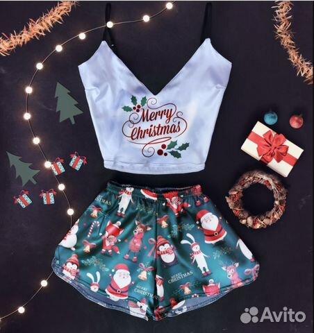 c0cf7b07b5f42 Пижама шёлковая (топ+ шорты) Merry Christmas | Festima.Ru ...
