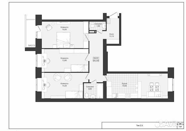 3-к квартира, 84 м², 2/10 эт. 88172786700 купить 3