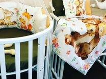 Льняной комплект в детскую кроватку