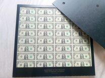 Купюры по 1 доллар США типографский лист