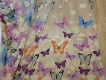 Тюль-органза белая с бабочками